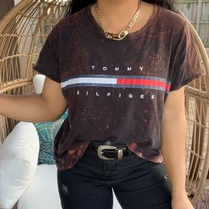 Tommy Hilfiger Spellout Distressed Bleached Top